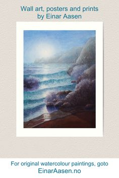 Wall art, prints, posters, art boards with watercolour paintings by Einar Aasen. Watercolour Paintings, Watercolor, Moonlight, Art Boards, Posters, Art Prints, Wall Art, Design, Art Impressions