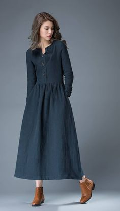 Navy Blue Summer Dress - Linen Comfortable Casual Everyday Fit & Flare Office or Work Woman's Dress