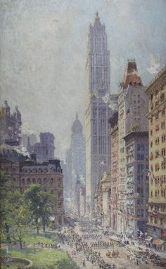 """Lower Broadway in Wartime,"" Colin Campbell Cooper, 1917, oil on canvas, 57 1/2 x 35 1/4"", Pennsylvania Academy of the Fine Arts."