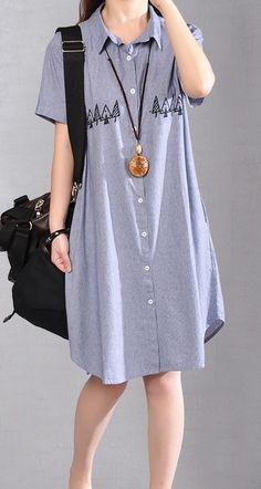 6fce428ef6ce Fine blue cotton shift dress plus size shirt dress New embroidery striped  cotton clothing dresses