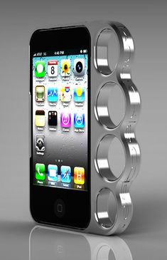 "Is there a demand for lethal iPhone cases? Evidently I run in too tame a crowd. Here's what the ad says:  The Knuckle Case($99) is an aluminum brass knuckle case for iPhones 4 & 4S, for turning your phones into weapons. It's made from solid aluminum!!   ""This product is to be used only as a handle and protective accessory for an iPhone.  Yada Yada Yada....."