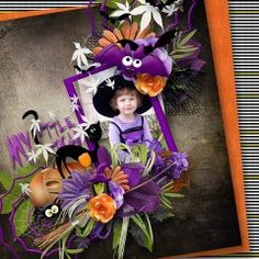 Love the purple on this page using #Cute #Monsters bundle by #eqrAveziur and Designs by #Brigit.   All the adorable masters of Halloween gather together to create this Spook-a-licious Halloween collection.