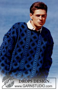 "DROPS jumper with pattern borders and square neck in ""Alaska"". Ladies and Men's size S – L. - Free pattern by DROPS Design"