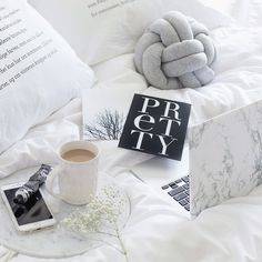 This is me for the rest of my night. Nestled in bed with my babies and goodies! Loving this image by one of my faves - - perfect style all round! Marble Macbook Cover, Knot Cushion, Bed Back, Tumblr Rooms, Stay In Bed, Coaster Furniture, My Room, Interior Styling, Coasters
