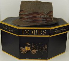 Dobbs Vintage Straw Pork Pie Telescoped Crown Tip 6 7/8 Brown in Original Box #Dobbs #telescopedcrownPorkPie