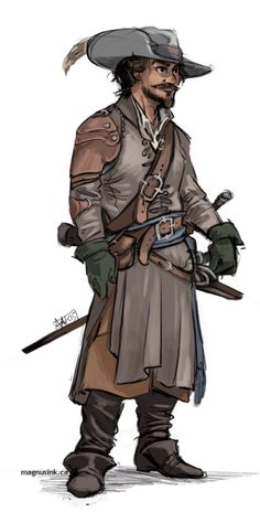 probs the best costume because long coat? IDK hard to compete with Porthos' radical studded collar. EHHH Will I draw d'Artagnan yet? Maybe. If he grows a beard.