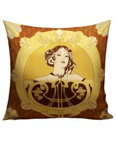 "Coussin ""parure de reine"" #bijou #illustration #mucha #artnouveau #jewel #pendant"
