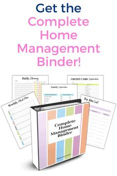 Get the Complete Home management Binder! Over 150 pages of printables to completely organize your home and family life!