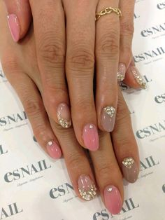 40 Popular Nail Art Designs Ideas With Stones For The Perfect Manicure - Fancy Nails, Love Nails, My Nails, Fingernails Painted, Glittery Nails, Pink Nail Art, Pink Nails, Blue Nail, Leopard Nails