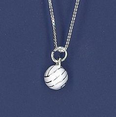 Solid White Volleyball necklace, another unique piece of volleyball jewelry by GymRats Volleyball necklaces, bracelets, and earrings. Volleyball Necklace, Volleyball Outfits, Clothing Co, Pendant Necklace, Jewels, Dressing Room, Earrings, Sports, Funky Jewelry