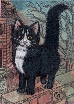 Tuxedo Cat Haunted House Halloween ACEO ART Black by SherryGoeben, $15.00