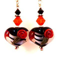 Black and White Heart Earrings Red Glass by Elegencebyelaine, $28.00
