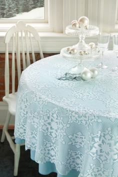 Beautiful Holiday & Winter Decor! Glisten Tablecloth, White Lace with Glitter - available in 2 sizes. Can be layered over a colored cloth or used on it's own. Machine washable.