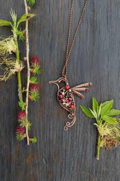 Hummingbird necklace spring gift romantic jewelry, unique animal jewelry one of a kind bird pendant