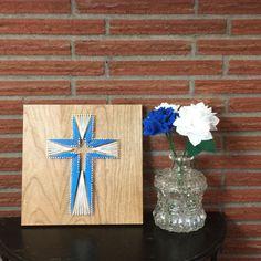 Custom Nail Art Cross 12x12, String Art for Easter, Blue & White - TKL Designs