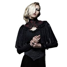 punkbags2017:     Black Red Punk Women Lace Cape With High Collar Gothic Winter Shawl Lace Pashmina   source:http://ift.tt/2pDPC5S  reblogged with tintum.