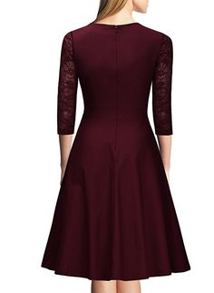 Buy Women's Fashion Vintage Square Neck Floral Lace Cocktail Swing Dress at Wish - Shopping Made Fun Vintage 1950s Dresses, Retro Dress, Vintage Ladies, Bordeaux, Beautiful Dresses, Nice Dresses, Business Dresses, Party Dresses For Women, Swing Dress
