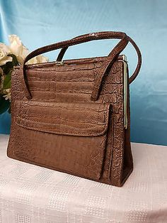 #Vintage womens hand bag #brown faux crocodile leather 40's #style good condition,  View more on the LINK: http://www.zeppy.io/product/gb/2/122314873103/