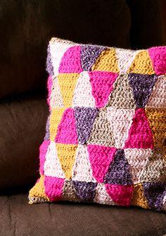 DIY Geometric Crochet Pillow.