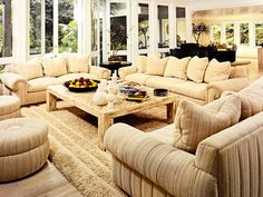 The plush living room of a Beverly Hills house Sandy Gallin sold—fully furnished—to Frank Sinatra in the 1980s.