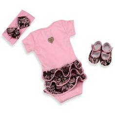 Baby Bella Maya™ 3-Piece Pink Champagne Bodysuit Set - buybuyBaby.com
