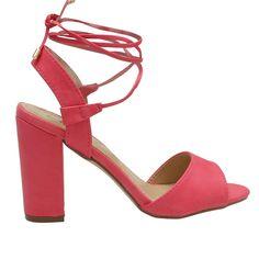Patty-22 Hot Pink Tie-Up Mid Block Heels