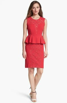 BCBGMAXAZRIA Lace Inset Peplum Sheath Dress available at #Nordstrom