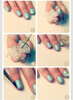 light mint green or pale blue base - use plastic to dip in gold and dab on nails for design