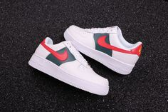 official photos 1e729 4619f Custom Gucci x Nike Air Force 1 Low Red and Green Stripes Air Force Ones,