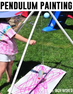 How to paint with a pendulum - this will be happening this summer outside my classroom!!!!