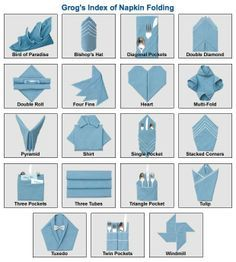 Index of Napkin Folds. Animated tutorials make napery seem .- Index of Napkin Folds. Animated tutorials make napery seem easy. Index of Napkin Folds. Animated tutorials make napery seem easy. Fancy Napkin Folding, Folding Napkins, How To Fold Napkins, Paper Folding, Wedding Napkin Folding, Napkin Origami, Table Etiquette, Diy Décoration, Easy Diy