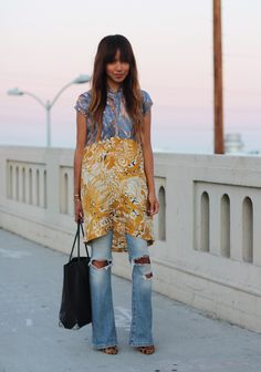 Dress: H  |  Jeans (DIY rips) : A  |  Heels: Madewell  |  Bag: Alexander Wang  |    Cuff: Gabriela Artigas