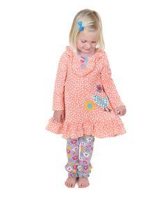 Look at this #zulilyfind! Coral Pastel Woodland Birdie Tunic & Leggings - Toddler & Girls #zulilyfinds