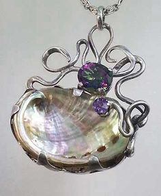 Settings for Irregularly Shaped Stones and Objects - Nancy L T Hamilton Abalone Jewelry, Stone Jewelry, Ocean Jewelry, Jewelry Art, Jewelry Design, Unique Jewelry, Beach Jewelry, Jewelry Rings, Bijoux