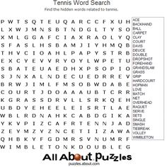 Sports Word Search Puzzles to Print: Tennis Word Search