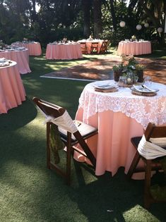 Instead of Peach I would do brown wedding with champagne lace table cloths