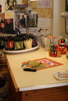 i wish it showed more - Mary Englebreit's home art studio...