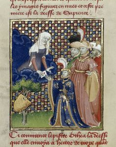 Detail of a miniature of the goddess Othea presenting her epistle to Hector of Troy, at the beginning of 'L'Épître Othéa'.  Origin:	France, Central (Paris)  Attribution:	Attributed to the Master of the Cité des Dames and workshopc. 1410-c. 1414