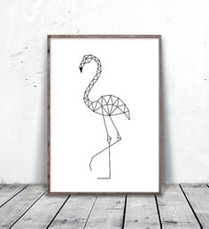 Geometric Flamingo — for minimalists who love animals. Geometric Drawing, Geometric Lines, Geometric Animal, Tape Art, Minimal Drawings, Art Drawings, Cadre Diy, City Map Poster, Art Carte