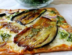 flatbread pizza with eggplant and scrambled egg flatbread pizza