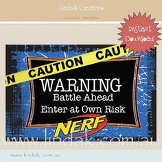 """Nerf"" Party Collection - Welcome Sign Nerf Wars Party Welcome Sign 