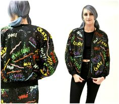 Vintage Black  SequinJacket with Words 90s pop art// Vintage Black Sequin Jacket Bomber Jacket Awesome Party Fun Jacket By Modi Sequin by Hookedonhoney on Etsy