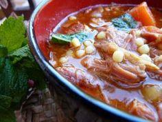 Sopa de cordero con hierbabuena