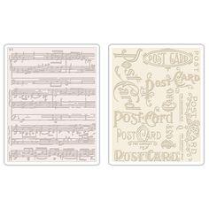 Sizzix.com - Sizzix Texture Fades Embossing Folders 2PK - Postcard & Sheet Music Set