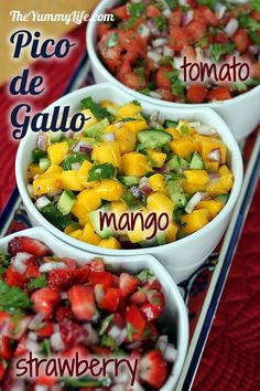 3 fresh Pico de Gallo salsas -- Classic Tomato, Mango Cucumber, and Strawberry Red Pepper. Easy, nutritious, and delicious. Mango salsa is the newest one I am trying to master this summer! I Love Food, Good Food, Yummy Food, Healthy Snacks, Healthy Eating, Healthy Recipes, Juice Recipes, Comida Latina, Appetizer Recipes