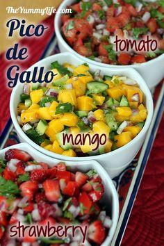 3 fresh Pico de Gallo salsas -- Classic Tomato, Mango Cucumber, and Strawberry Red Pepper. http://www.theyummylife.com/pico_de_gallo