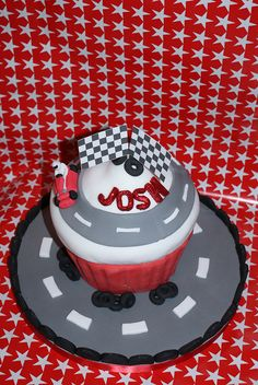 Giant Cupcake with a race track theme