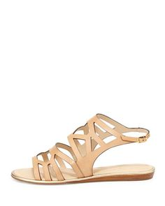 kate spade new york aster leather cutout sandal, natural | CUSP