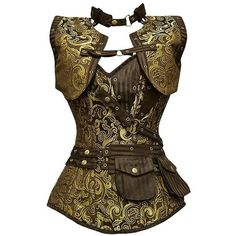 A Clash of Times ❤ liked on Polyvore featuring tops, corset, steampunk, shirts, costumes, shirts & tops, corsette tops, brown tops, brown corset top and steam punk corset