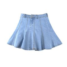 Chicnova Fashion Light Blue Denim Skater Skirt (758.370 VND) ❤ liked on Polyvore featuring skirts, mini skirts, bottoms, short skirts, pleated skater skirt, blue mini skirt, denim skirt, skater skirt and denim skater skirts